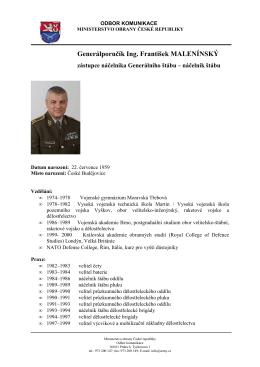 Generálporučík Ing. František MALENÍNSKÝ