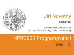 NPRG030 Programování I - Cvičení 1.