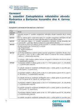 Usnesení 5 zasedání zastupitelstva - Radvanice a Bartovice