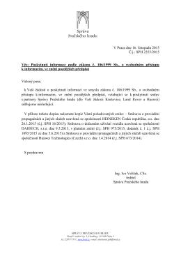 Odpověď podle zákona č. 106-1999 Sb. č.j. SPH 2355-2015