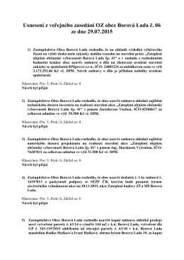 Usnesení OZ ze dne 29.07.2015