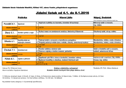 Jídelní lístek od 4.1. do 8.1.2016