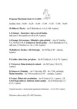 Program Martinské čtení 11