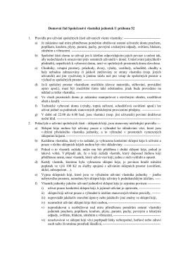 Domovní řád Společenství vlastníků jednotek U průhonu 52 1