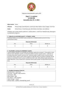 Zápis č. 2 z jednání VV Svazu motokrosu 19.3.2015