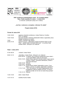 3. května 2015 - XXIX. konference protestantských muzeí