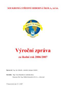 Vyroční zprává za rok 2006/2007