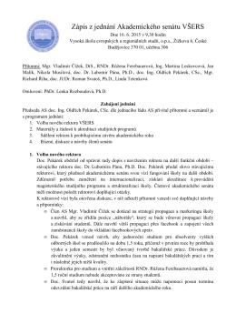 Zasedání AS VŠERS 16. 6. 2015