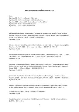 1 Nové přírůstky v knihovně ŽMP - červenec 2015 Pozn. Signatura DS