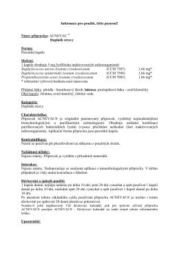 ACNEVAC ® - Informace o přípravku