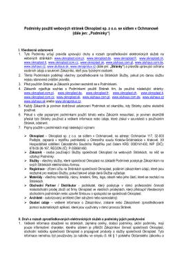 Podmínky použití webových stránek Oknoplast sp. z o.o. se sídlem v