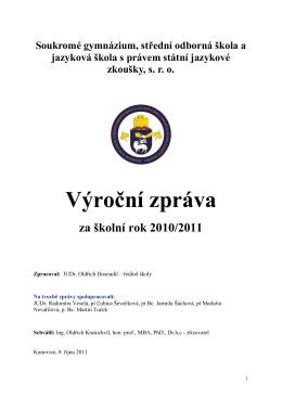 Vyroční zprává za rok 2010/2011