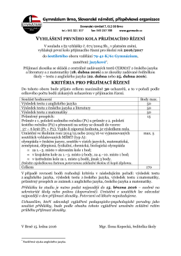 6leté studium – obor 79-41-K/61 Gymnázium, jazykové zaměření
