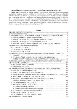 Školní řád je zpracován na základě zákona č
