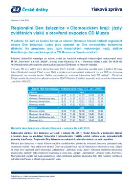 jízdy zvláštních vlaků a otevřená expozice ČD Muzea