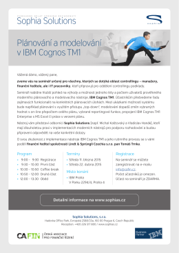 Plánování a modelování v IBM Cognos TM1 Sophia Solutions