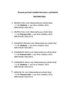 Seznam povinné studijní literatury v předmětu MATEMATIKA 1