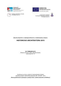 HISTORICKÁ ARCHITEKTÚRA 2015 - rozvoj