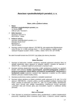 Stanovy AVSP 2015 - Asociace vysokoškolských poradců