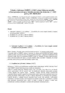 Výňatky z Informací č. 2/2015 vydané dne 1. 7. 2015.