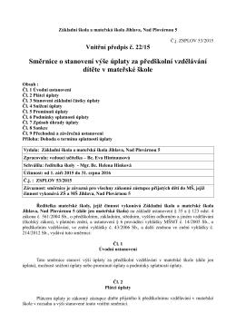 Směrnice o stanovení výše úplaty za předškolní vzdělávání dítěte v