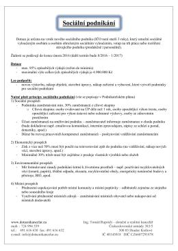 Sociální podnikání - Ing. Tomáš Ruprich