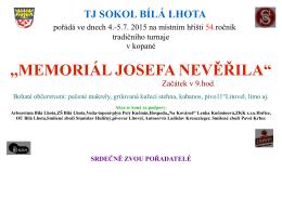 """,,MEMORIÁL JOSEFA NEVĚŘILA"""""""