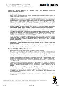 Všeobecné obchodní podmínky (pro alarmy JABLOTRON)