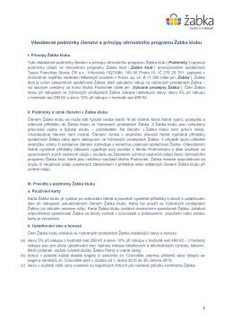 Všeobecné podmínky členství a principy věrnostního