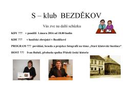 Pozvánka na S klub 1.2.2016 na téma Klatovské hostince s Ivanem