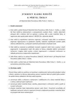 Stanovy KRPŠ MŠ Peroutkova – 7.9.2015