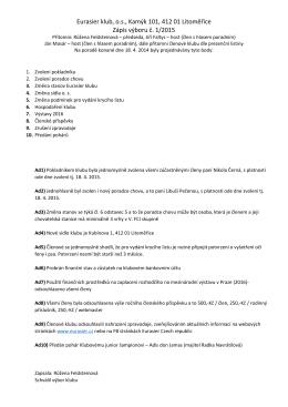 Zápis z členské schůze 2015