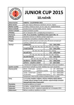 JUNIOR CUP 2015 - Sportovní klub Judo Teplice