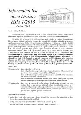 Informační list obce Drážov číslo 1/2015