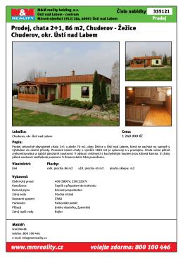 Prodej, chata 2+1, 86 m2, Chuderov - Žežice Chuderov