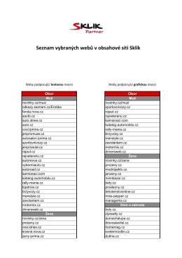 Seznam vybraných webů v obsahové síti Sklik