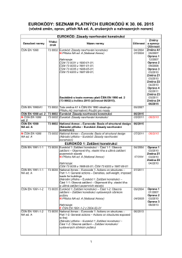 eurokódy: seznam platných eurokódů k 30. 06. 2015