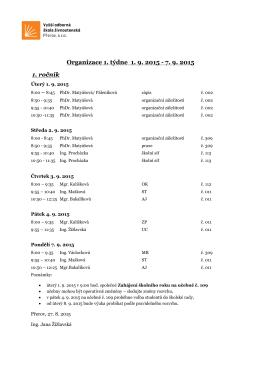 Organizace 1. týdne 1. 9. 2015