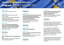 Program Čtvrtek 5. listopadu 2015