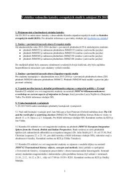 Vyhláška vedoucího katedry evropských studií k zahájení ZS 2015