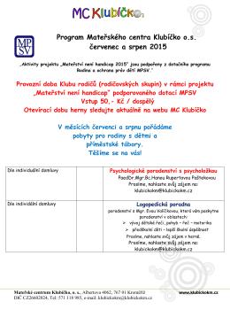 Program Mateřského centra Klubíčko o.s. červenec a srpen 2015