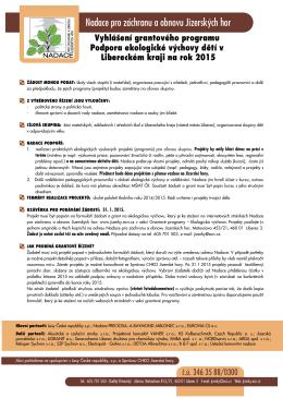 Vyhlášení - Nadace pro záchranu a obnovu Jizerských hor