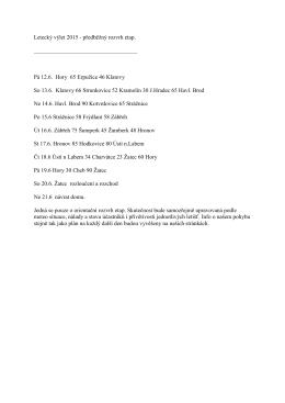 Letecký výlet 2015 - předběžný rozvrh etap. Pá 12.6. Hory 65