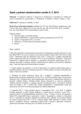 Zápis ze zasedání AS FJFI ČVUT v Praze konaného dne 09.3.2015