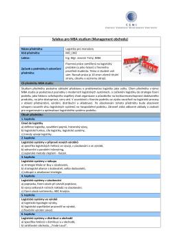 Sylabus pro MBA studium (Management obchodu)