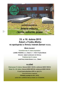 Zelené střechy - teorie, exkurze, praxe