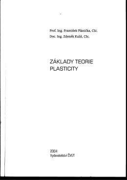 za klady teorie plasticity - Slovenská technická univerzita v Bratislave