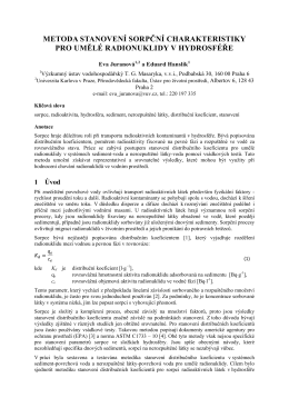 metoda stanovení sorpční charakteristiky pro umělé radionuklidy v