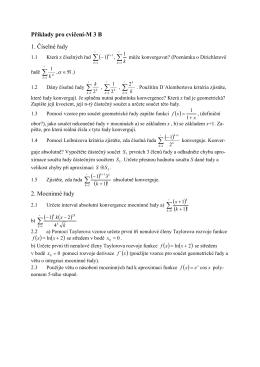 Úlohy na cvičení z MATEMATIKY III
