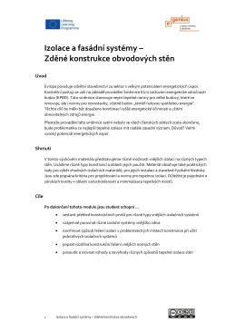 Izolace a fasádní systémy – Zděné konstrukce obvodových stěn